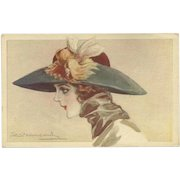S. Bompard Vintage Italian Postcard of Lady in Lovely Hat