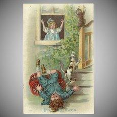 Vintage 1909 Postcard of Mishap Involving Cat and Dog