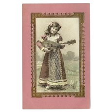 Vintage Embossed Pink Postcard of Young Girl and Mandolin