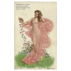 W. Haskell Coffin Postcard of Woman with Morning Glory Flowers