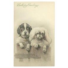 Art de Vienne Birthday Postcard of Two Dogs by Ulrich Weber