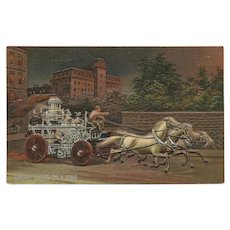 Embossed and Tinted Postcard of Horse Drawn Fire Engine