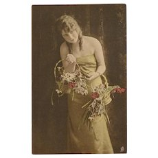 Raphael Tuck 1918 Postcard of Lovely Lady with Tinted Flowers