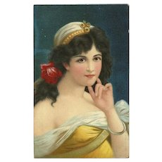 Chromolithograph 1909 Postcard of Beautiful Brunette Woman with Red Rose