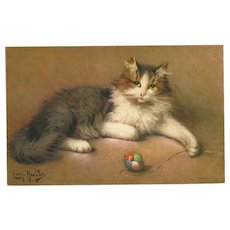Leon Huber Vintage Postcard of Cat with Yarn