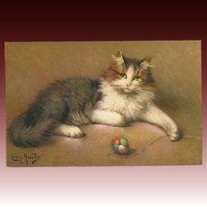 Leon Huber Vintage Postcard of Cat with Yarn