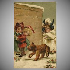 Embossed Chromolithograph 1908 Postcard of Children with Teddy Bear by Greiner