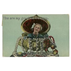 Samson Brothers 1915 Postcard of Lady in Jewelry Box