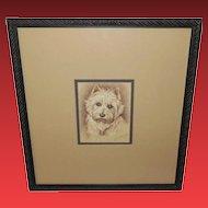 Lucy Dawson Westie Dog Vintage Etching Print