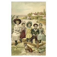 Undivided Postcard of Children with Dog