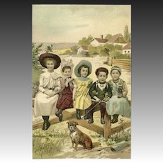 Undivided Postcard of Children with Dog