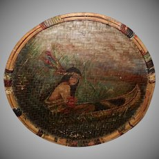Painting on Wicker of Indian Maiden in Canoe