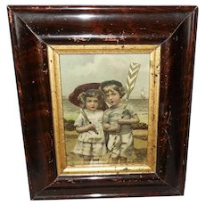 Small Embossed Chromo of Boy and Girl on Beach