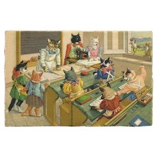 Max Kunzli Mainzer Dressed Cat Postcard of Sewing Class