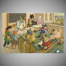 Max Kunzli Mainzer Dressed Cat Postcard of Sewing Class