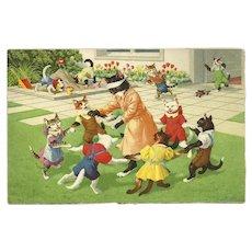 Max Kunzli Mainzer Dressed Cat Postcard of Blind Man's Bluff