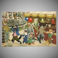 Max Kunzli Dressed Cats Postcard of Carnival Fun