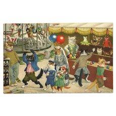 Max Kunzli Dressed Cats Postcard of Carnival Fun