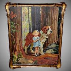 Hy Hintermeister Vintage Print of Girl with Saint Bernard Dog