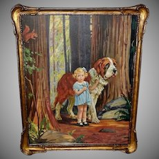 Hy Hintermeister Vintage Print of Girl with Saint Bernard Dog