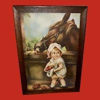 Irene Patten Vintage Print of Girl Feeding Horse