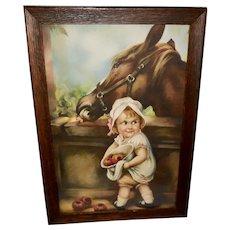 Vintage Irene Patten Print of Girl Feeding Horse