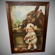 Vintage Irene Patten Print of Girl Feeding Horse