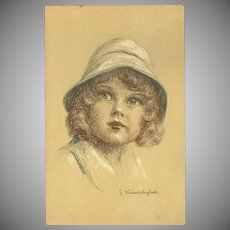 Vintage Postcard of Young Girl by Henri Vincent Anglade
