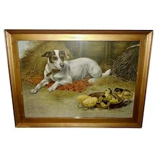 Chromolithograph of Dog Watching Over Baby Chicks