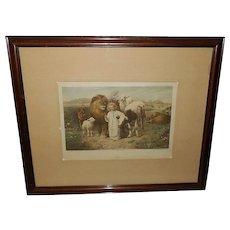 William Strutt Vintage Print of Peace - Jesus with Animals