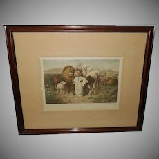 William Strutt Vintage Print of Peace - Jesus with Animals