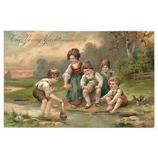 Embossed PFB 1908 Postcard of Children - The Young Yachtsman