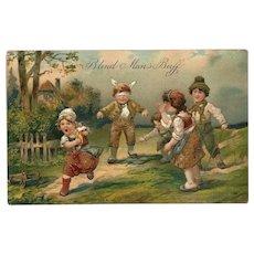 Embossed PFB Postcard of Children Playing Blind Man's Buff