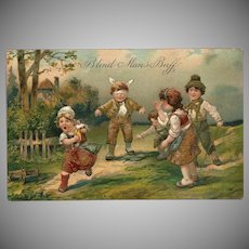 Embossed PFB Postcard of Children Playing Blind Man's Buff