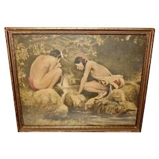 E. Irving Couse Vintage Print of Two Crouching Indians at Brook
