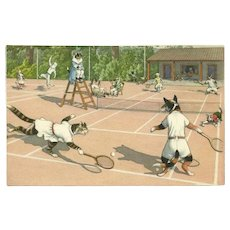 Max Kunzli Dressed Cat Postcard of Tennis Match