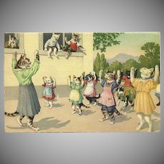 Max Kunzli Dressed Cat Postcard of Exercise Class