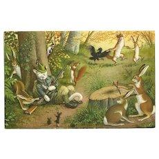 Max Kunzli Dressed Cat Postcard of Sleeping Hunter