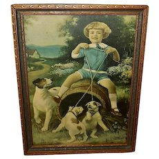 R. Atkinson Fox DeForest Vintage Print of Child with Dogs