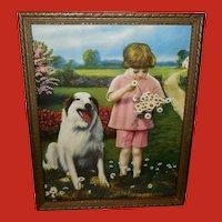 Vintage Calendar Print of Dog and Girl