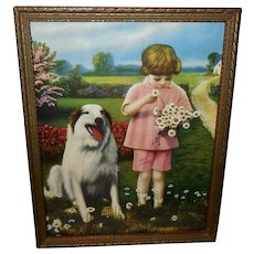 Vintage Calendar Print of Dog and Girl