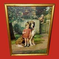 Vintage Knowles Calendar Print Girl Saint Bernard Dog