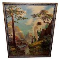 William Gilman Low Fantasy Print Lady on Cliff