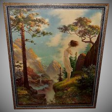 William Gilman Low Fantasy Print Lady on Cliff
