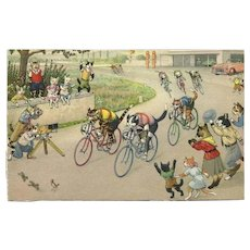 Max Kunzli Dressed Cat Postcard of Bike Race