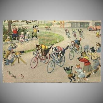Max Kunzli Dressed Cat Postcard of Bike Race