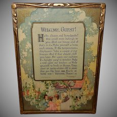 Buzza 1927 Motto Print Welcome Guest