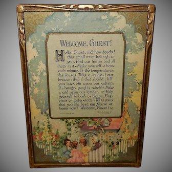 Buzza 1927 Motto Print Welcome Guest