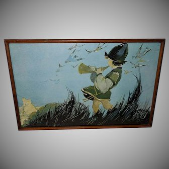 Vintage Print of Little Boy Blowing Horn