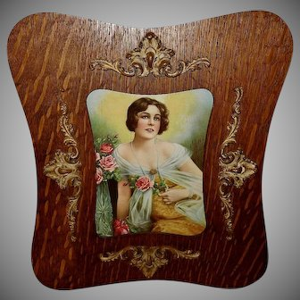 Vintage Print of Lady with Roses in Ornate Curved Frame